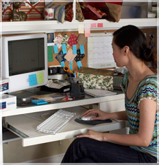 Decorative image of female computer user